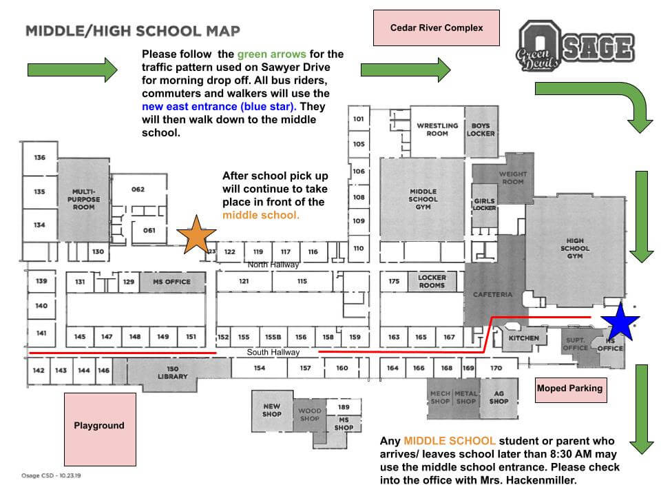 Picture of the New addition Map to help people know where to go when visiting Osage Schools.